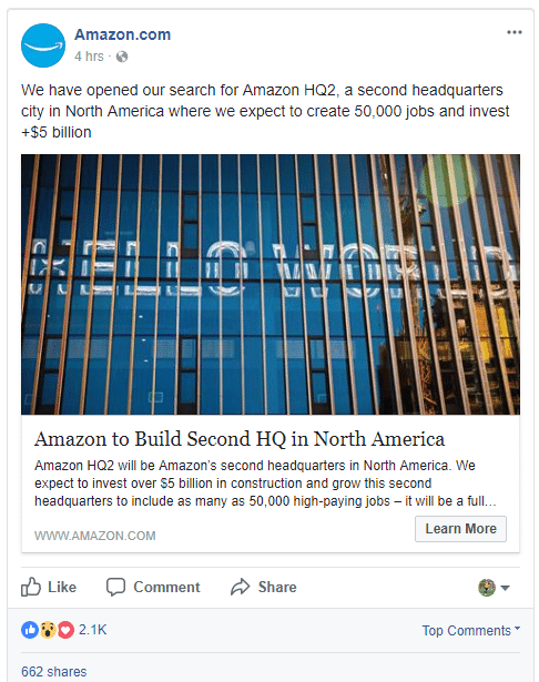 Example of a post made on the Amazon Facebook page