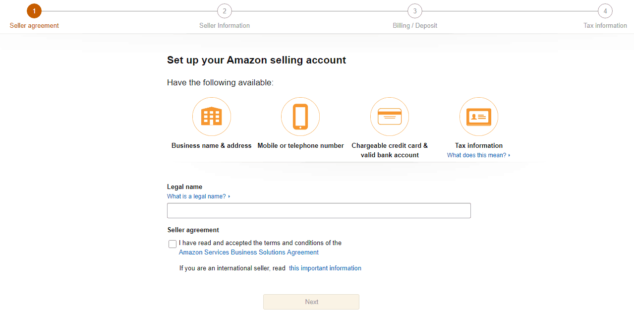 amazon seller account setup