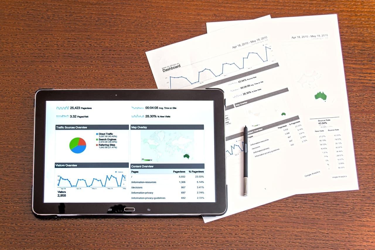 Website analytics graphs