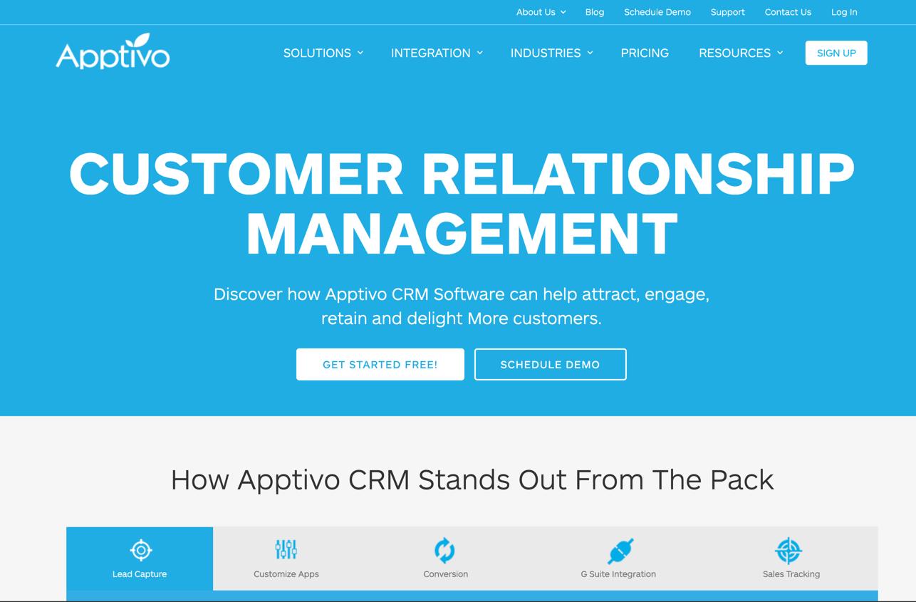 Apptivo Homepage