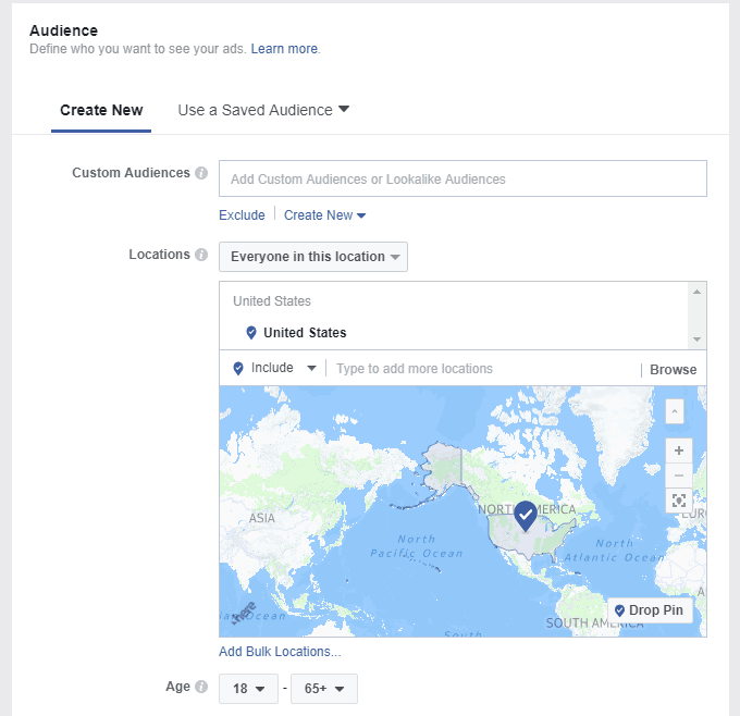Audience options for Facebook ads