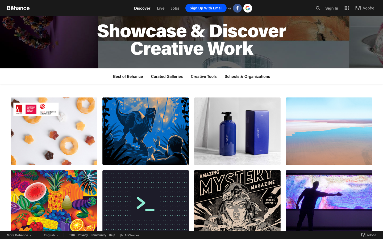 behance homepage