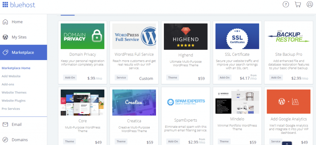 bluehost marketplace