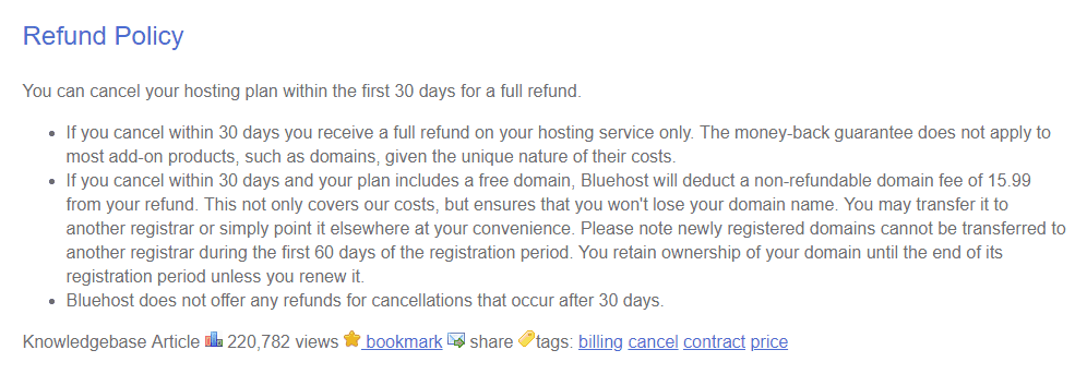 bluehost refund