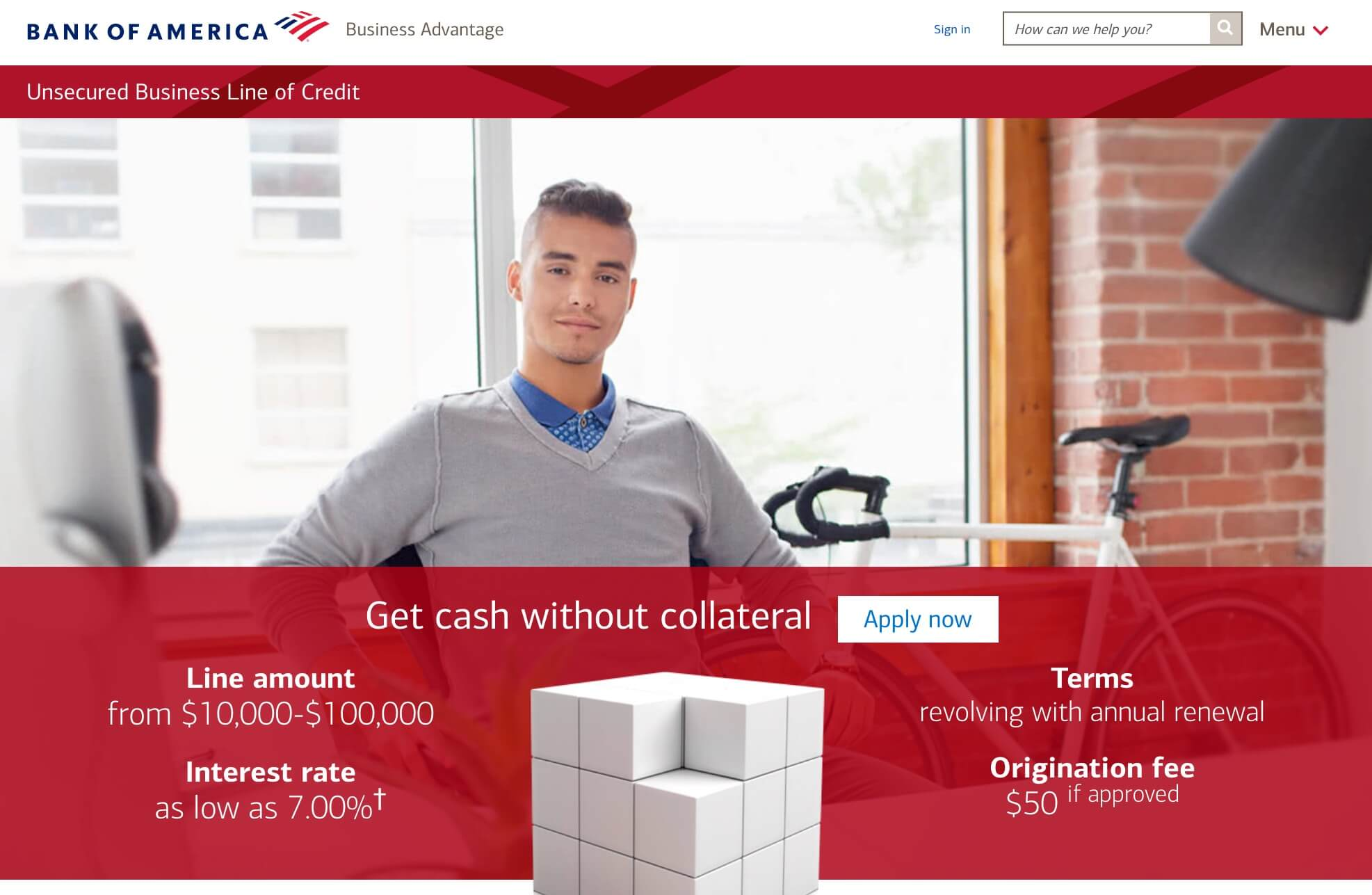 Bank of America business line of credit