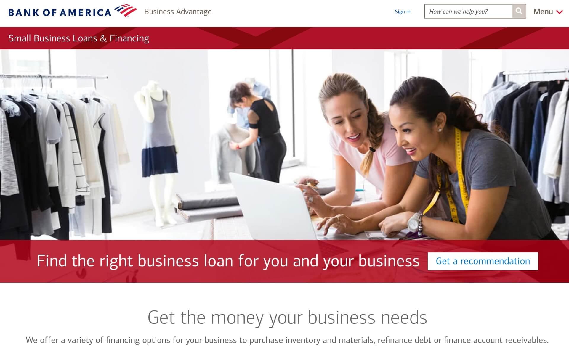 bank of america loans