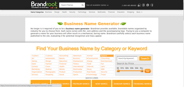 Brandroot Business Name Creator
