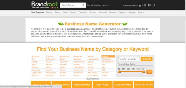 Brandroot business name creator