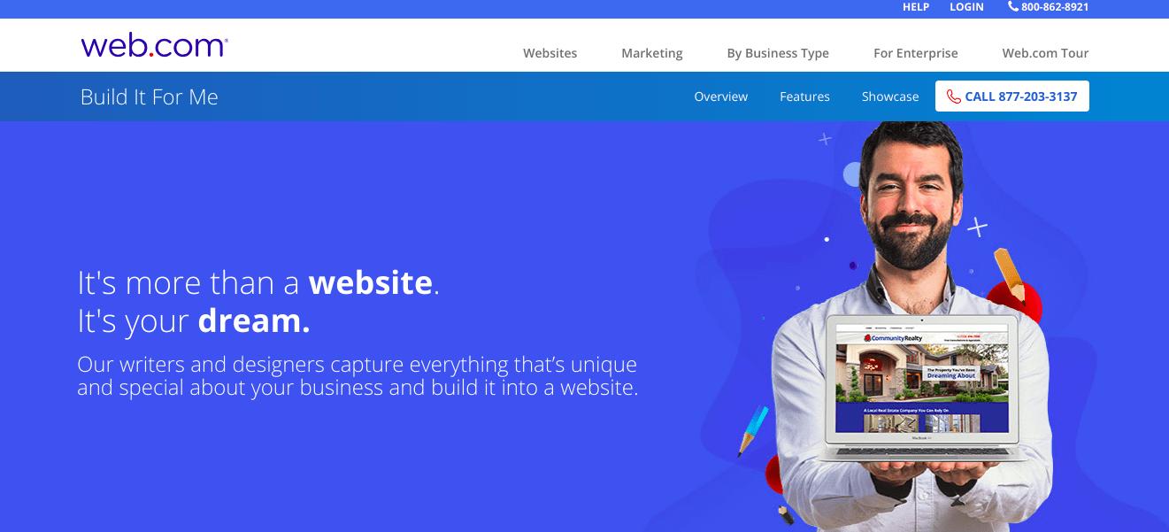 Web.com Builder webpage screenshot