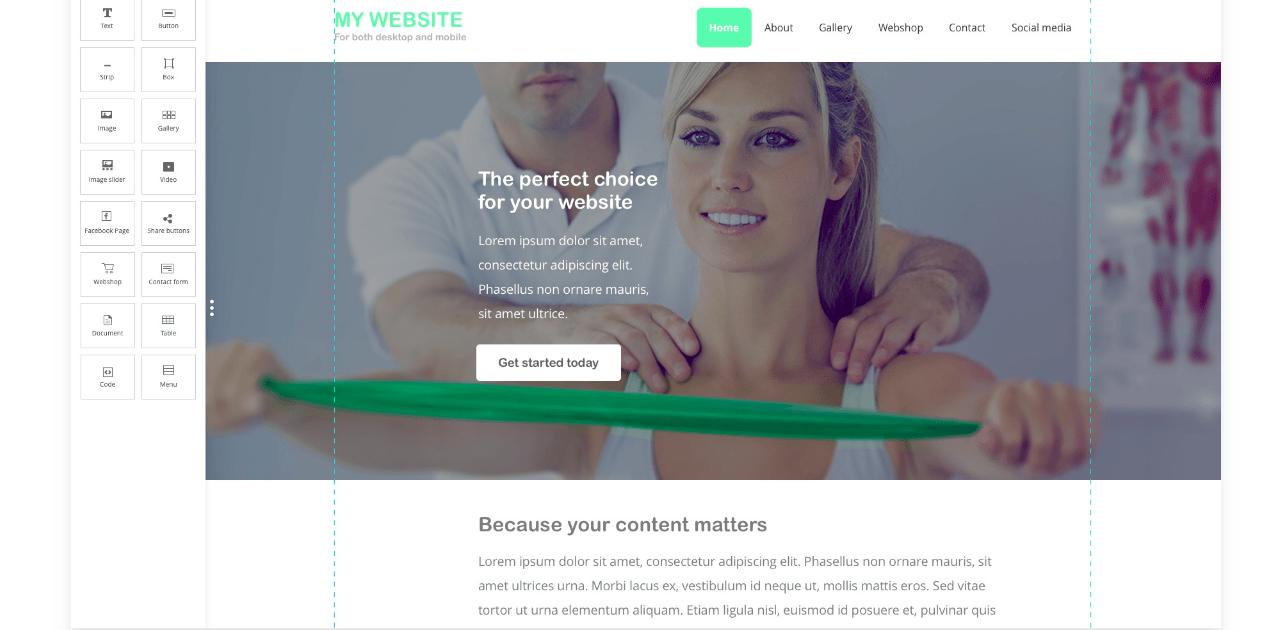 One.com Website builder screenshot
