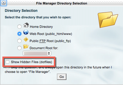 cPanel Show Hidden Files checkbox