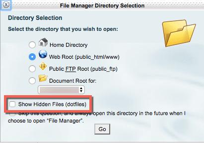 cPanel Show Hidden Files checkbox