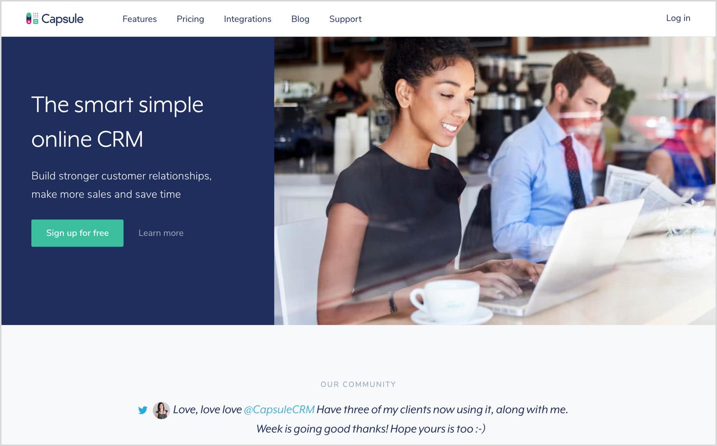 capsule crm homepage