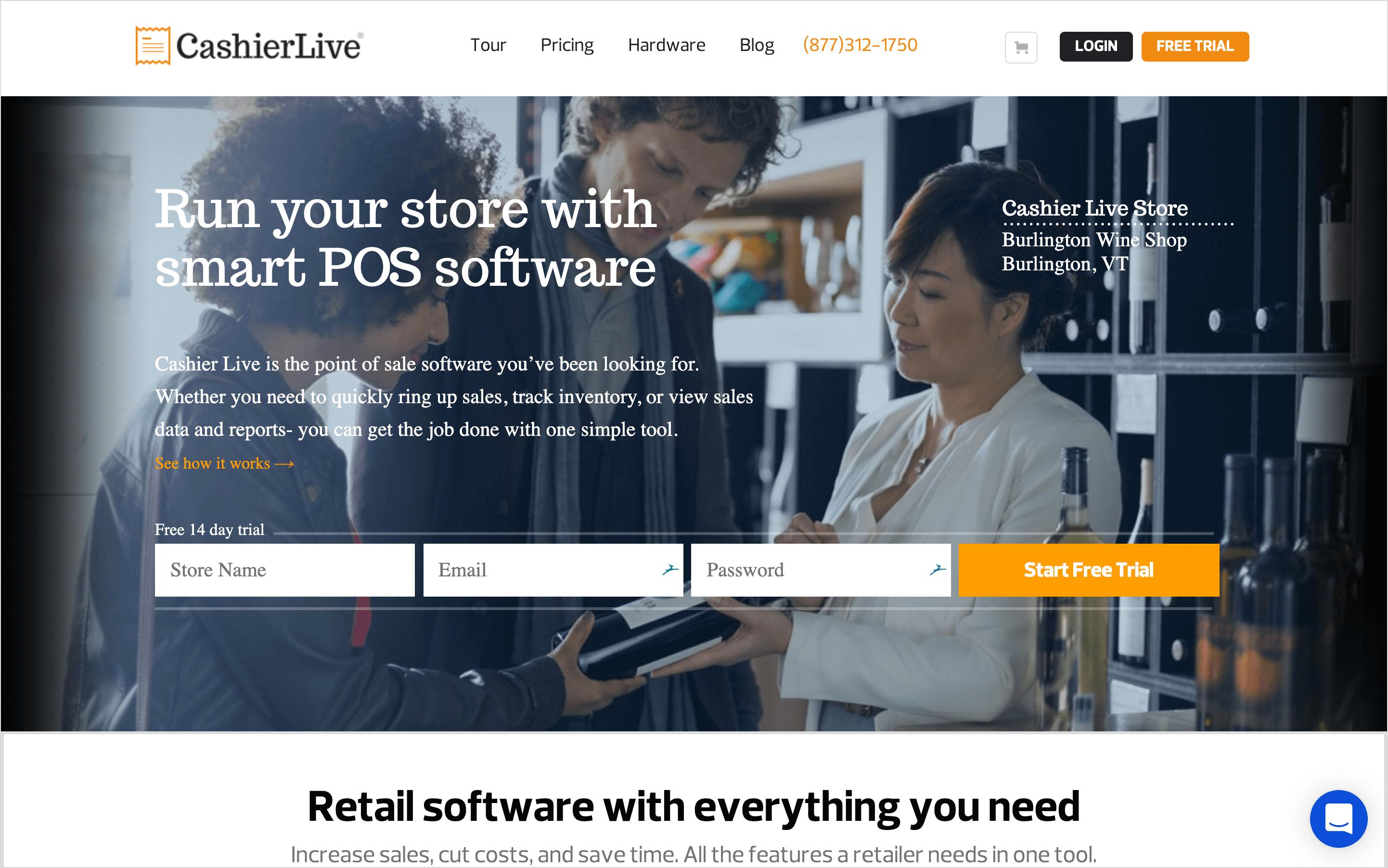 cashierlive homepage