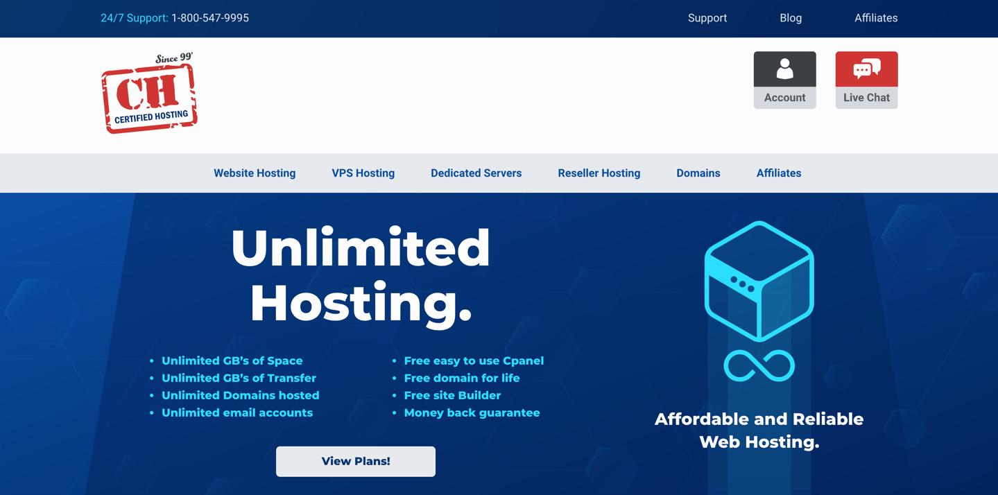 certified hosting homepage