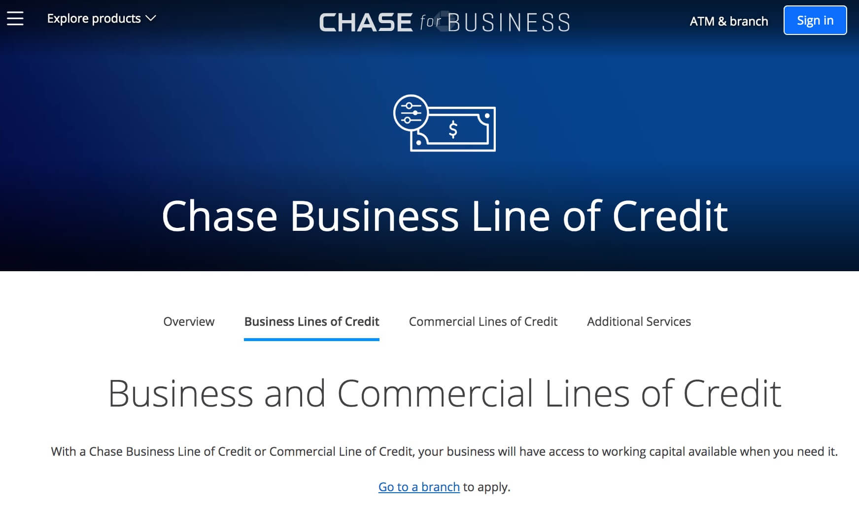 Chase business line of credit