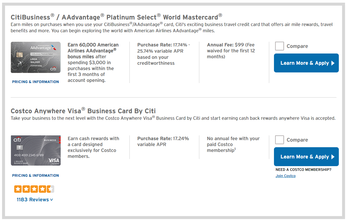 citi business credit cards