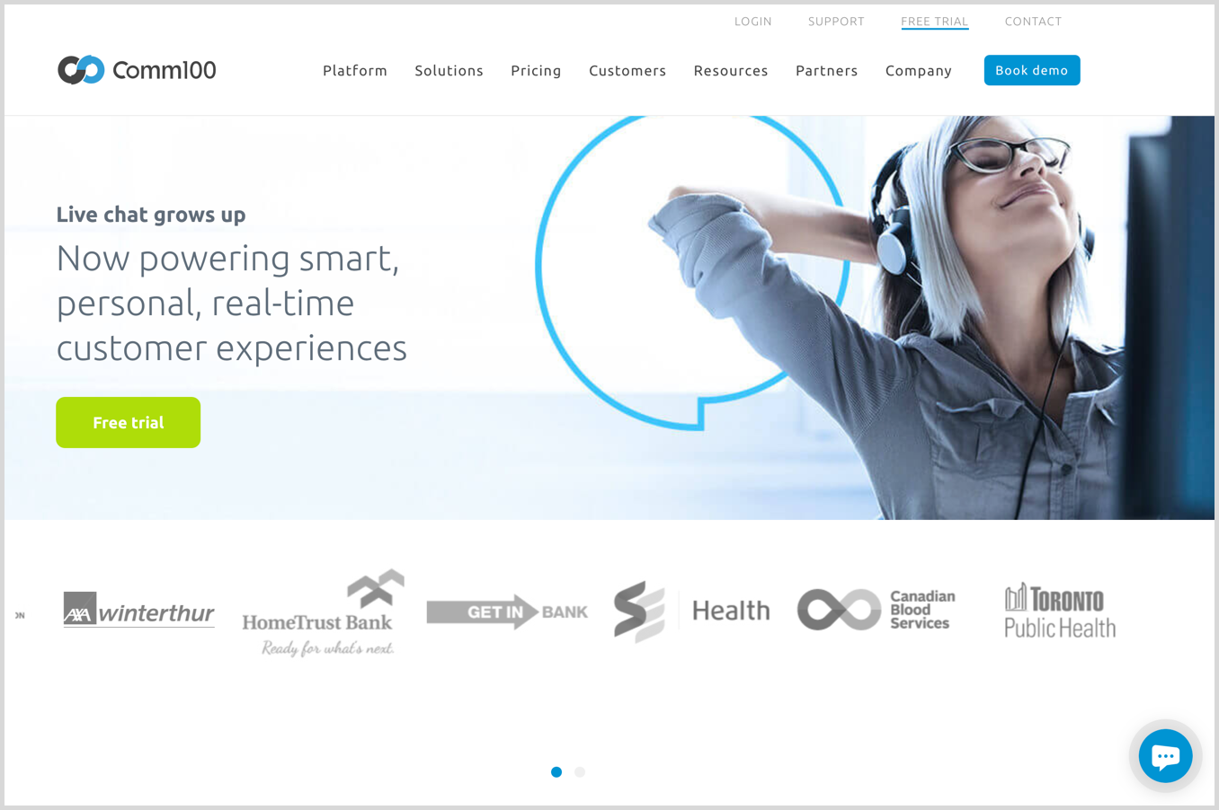comm100 homepage