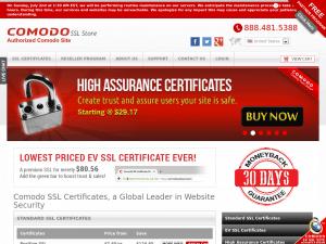 Comodo SSL Store homepage
