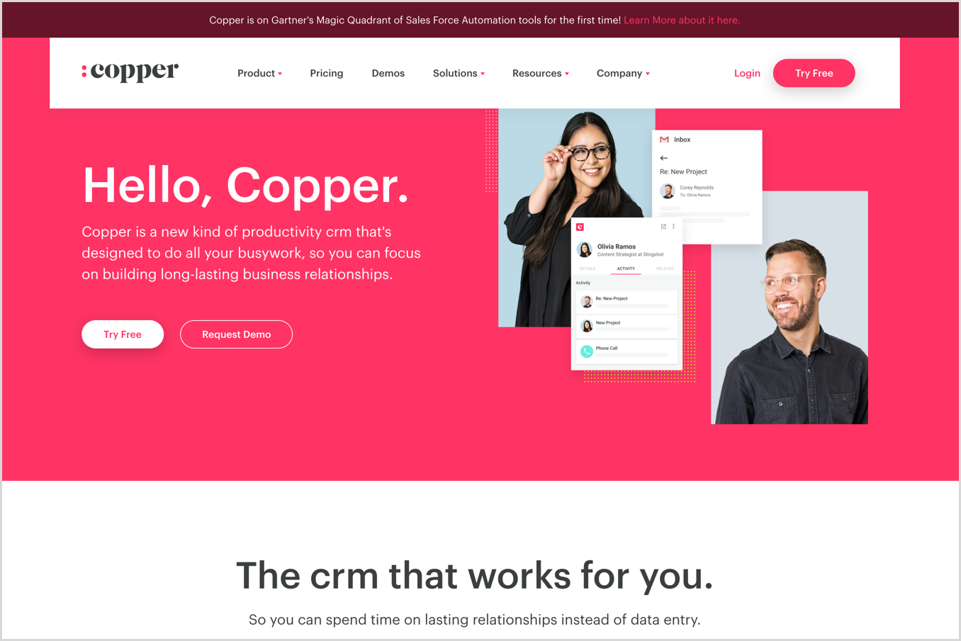 copper crm homepage