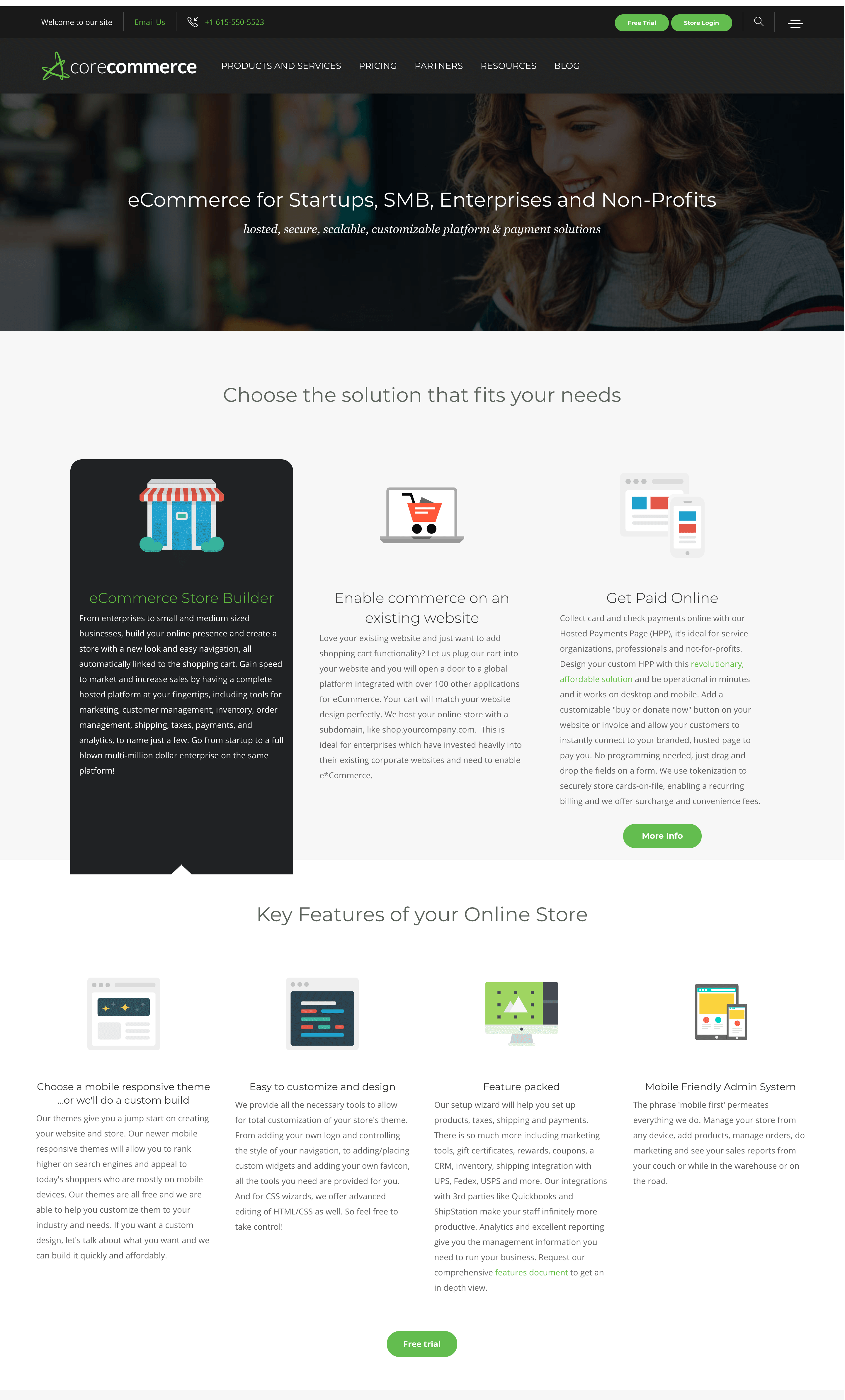 corecommerce homepage