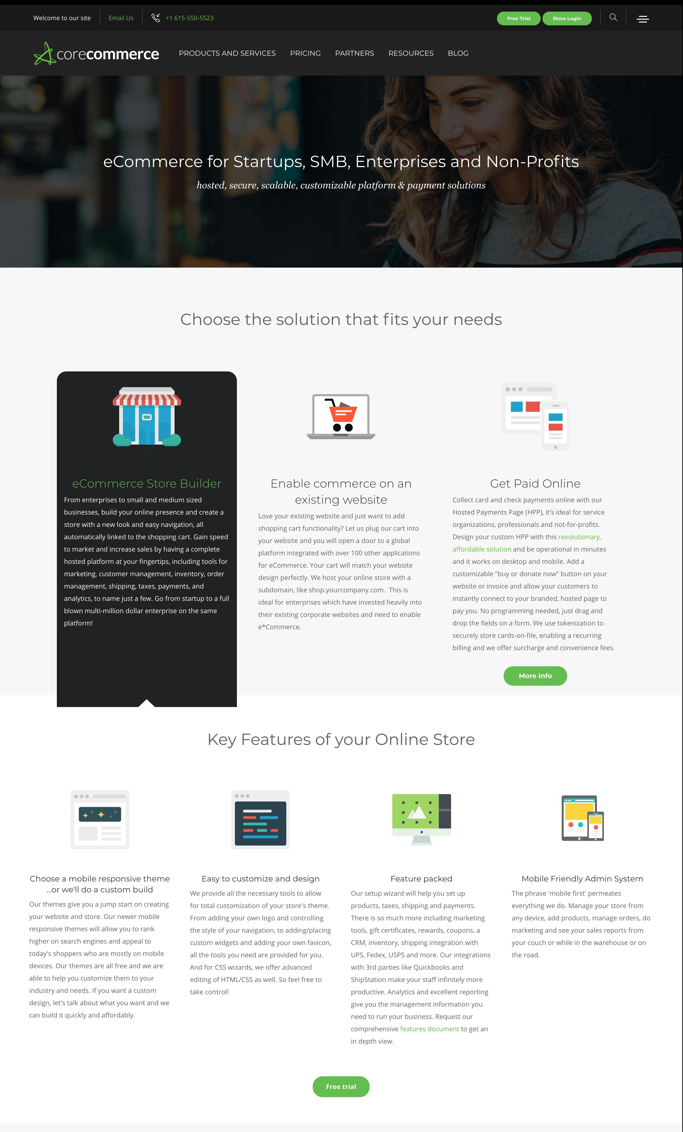 corecommerce homepage