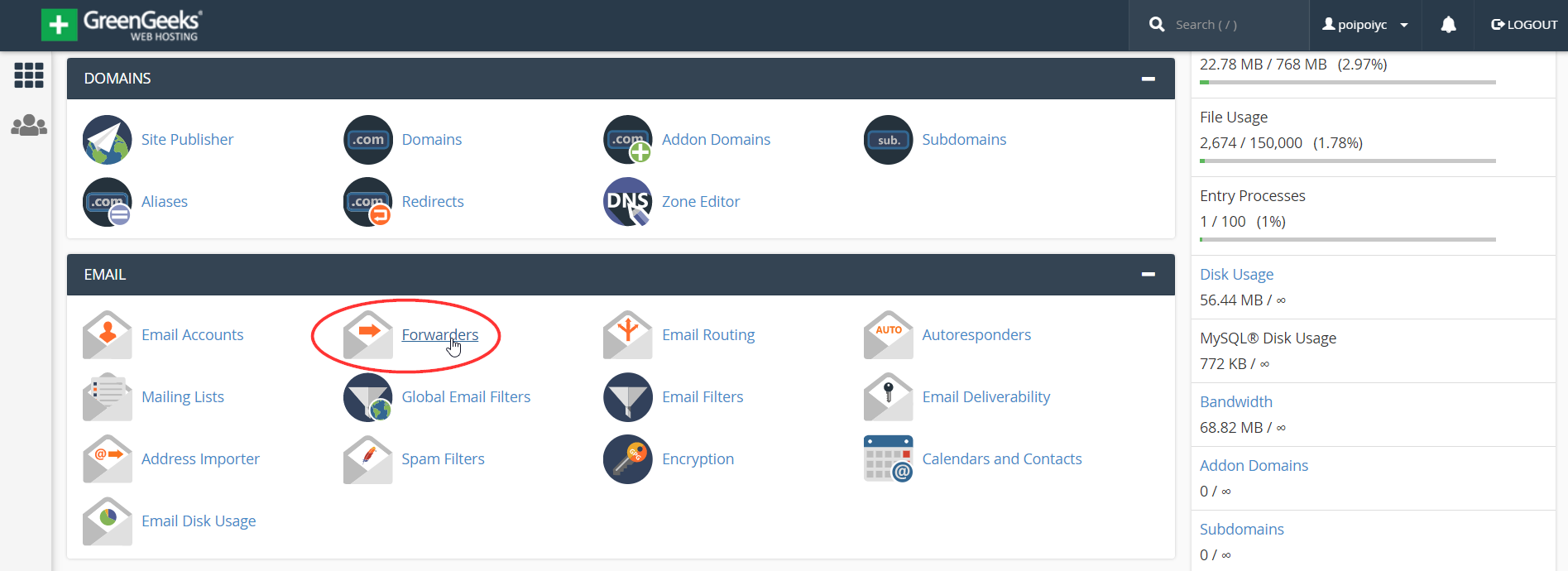 cpanel email forwarders