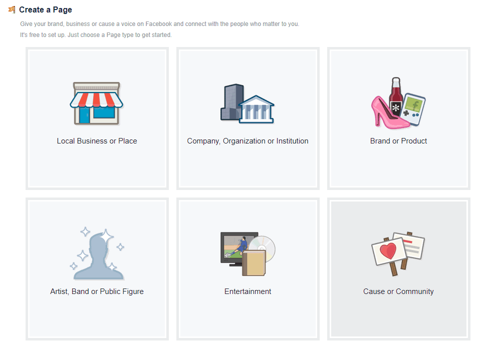 The create page options on Facebook