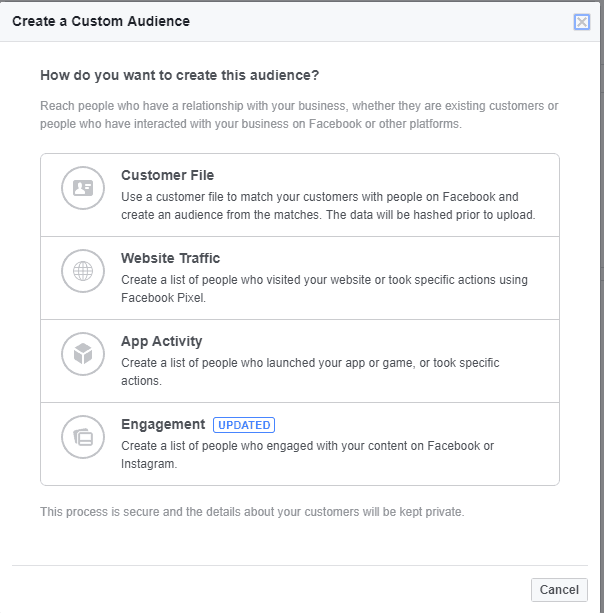 Create a custom audience options for a Facebook business page