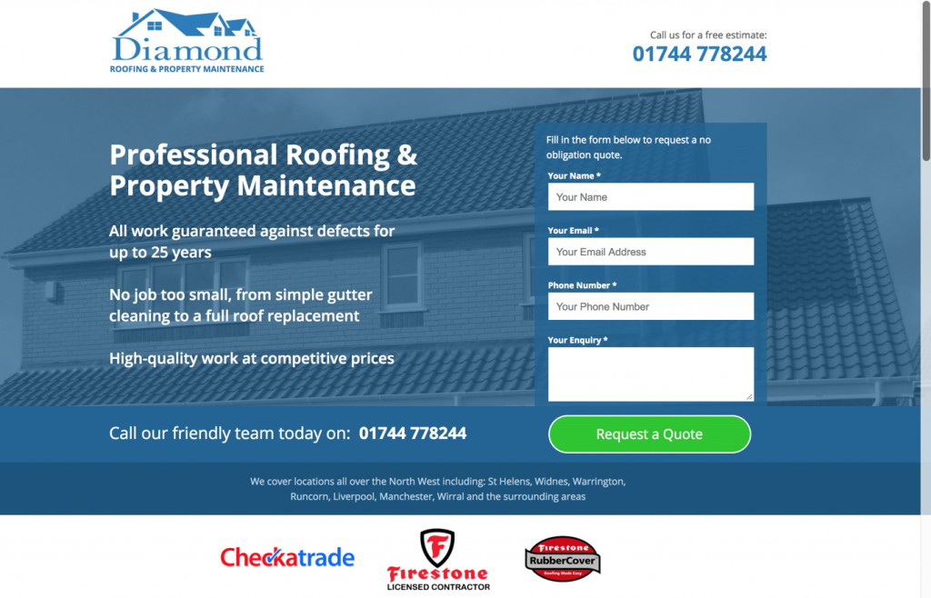diamond roofing business page