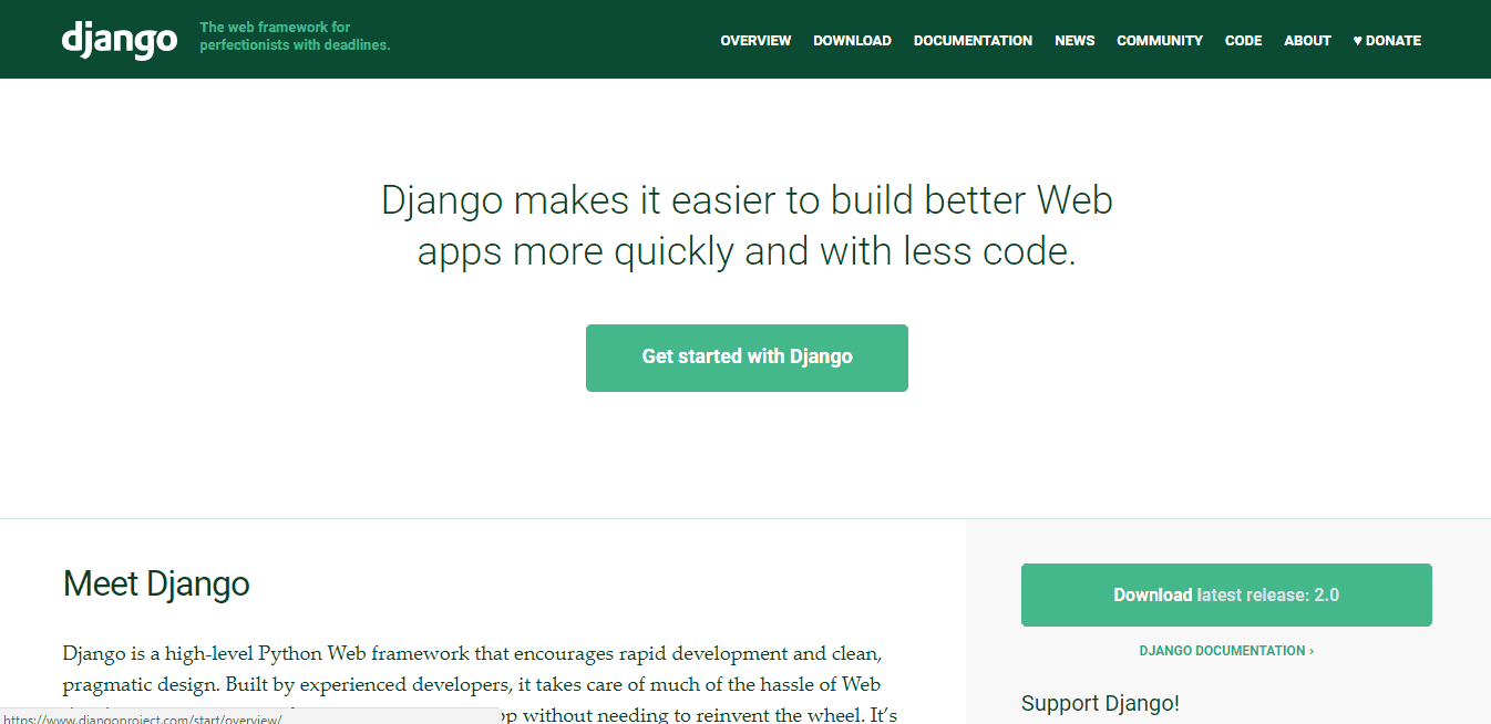 Django homepage screenshot