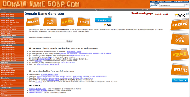 Domain Name Soup domain generator tool