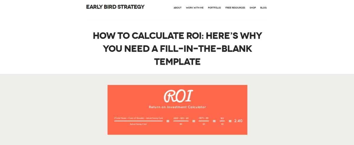 ROI calculator formula