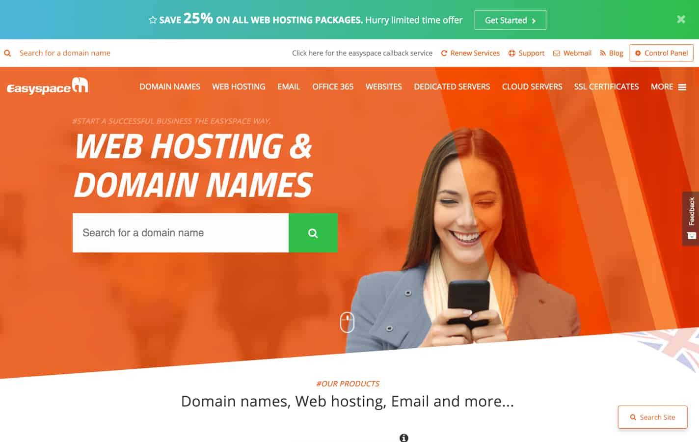 easyspace homepage