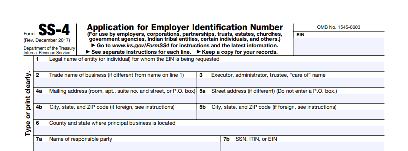 EIN application form