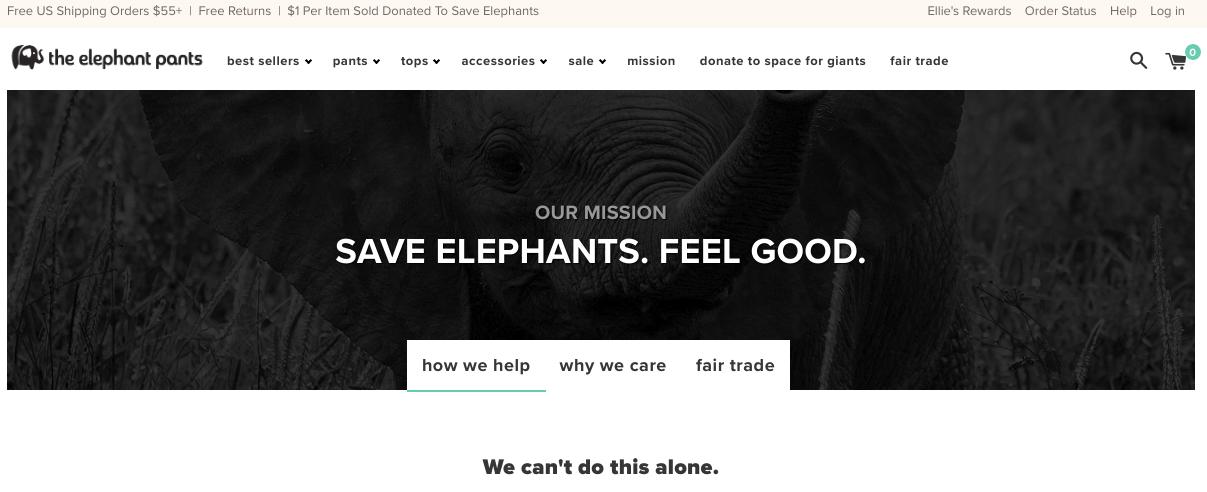 Elephant Pants homepage screenshot via Digital.com