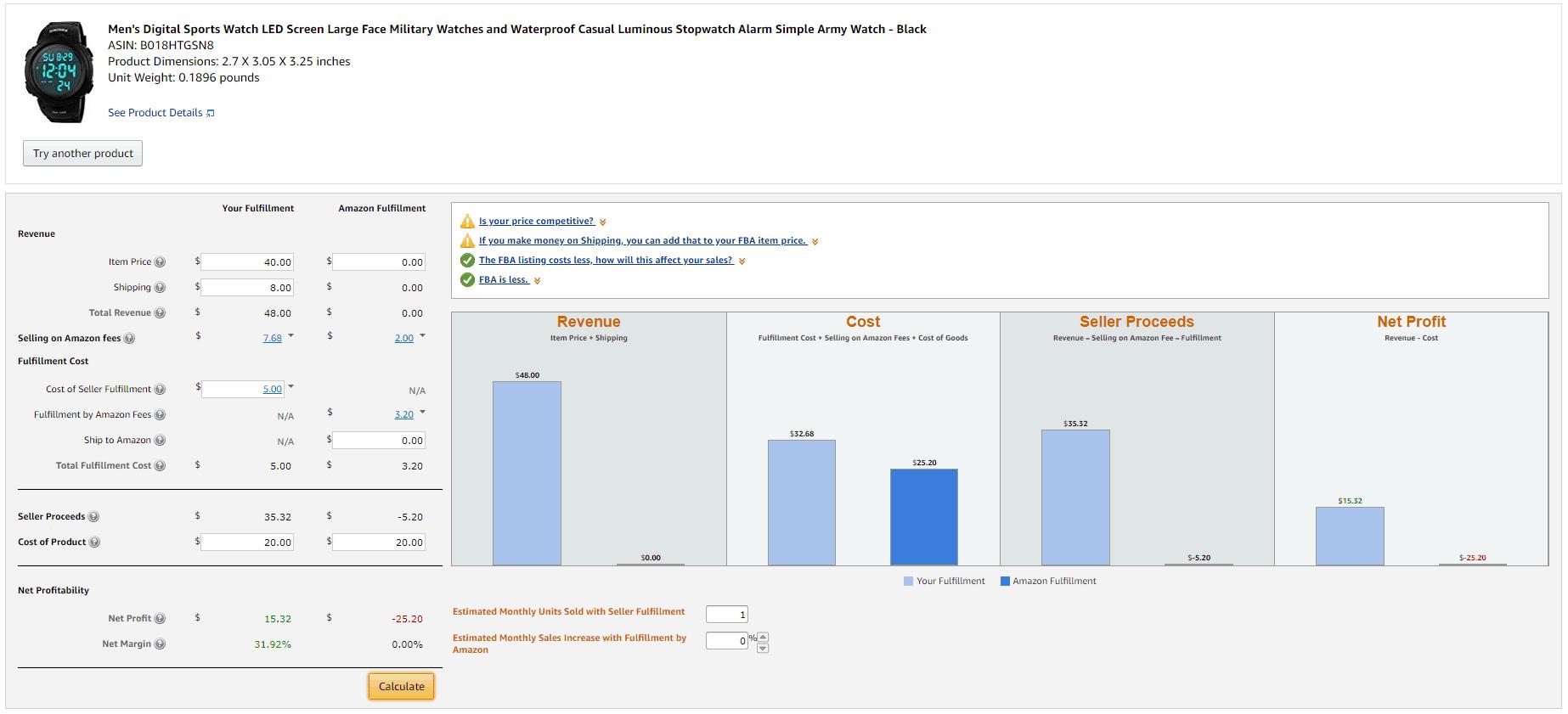 fba profit calculator