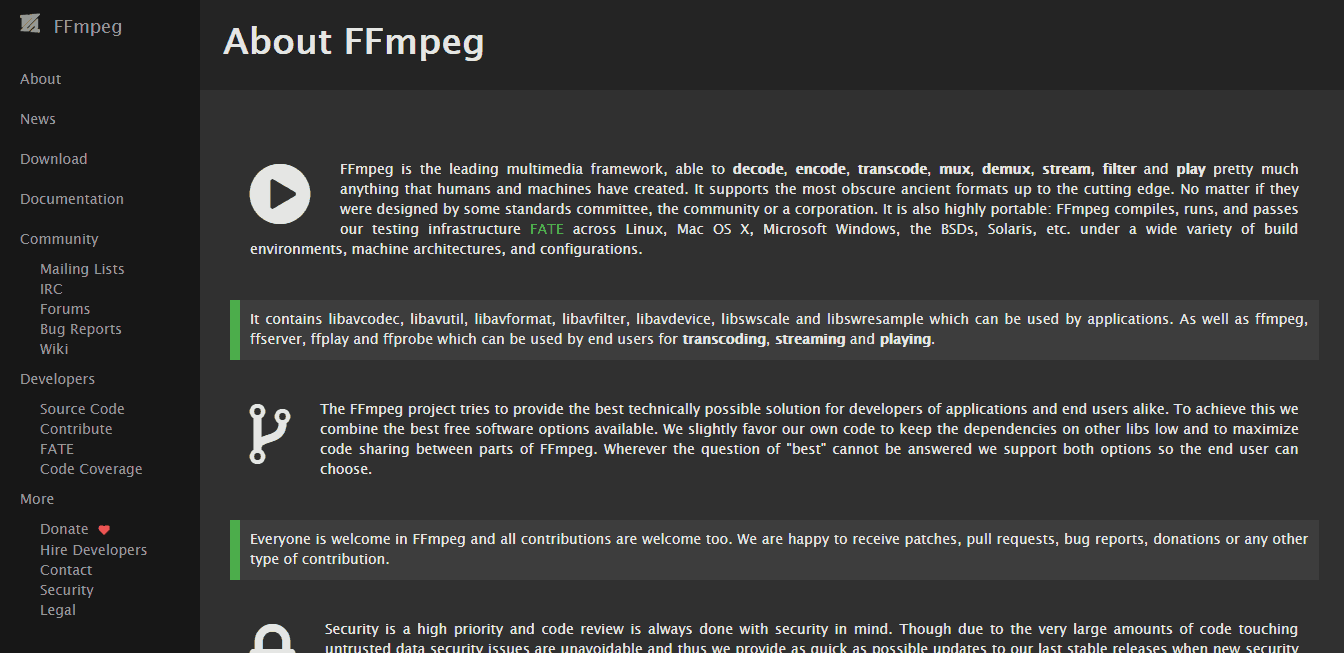 FFmpeg about page screenshot