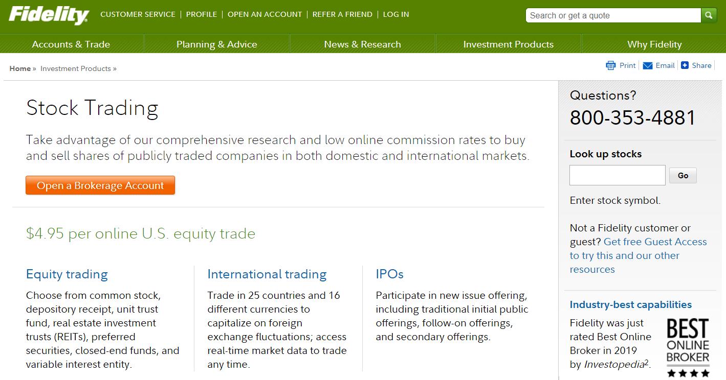 fidelity online stock trading