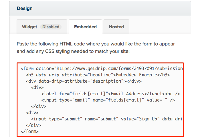 Form HTML in Drip
