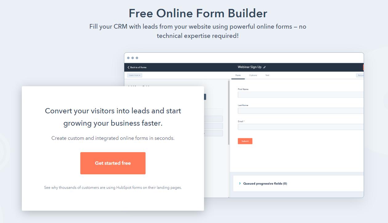 hubspot form builder