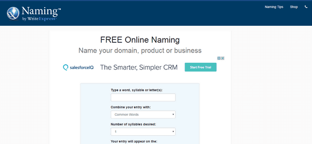 Free business naming tool