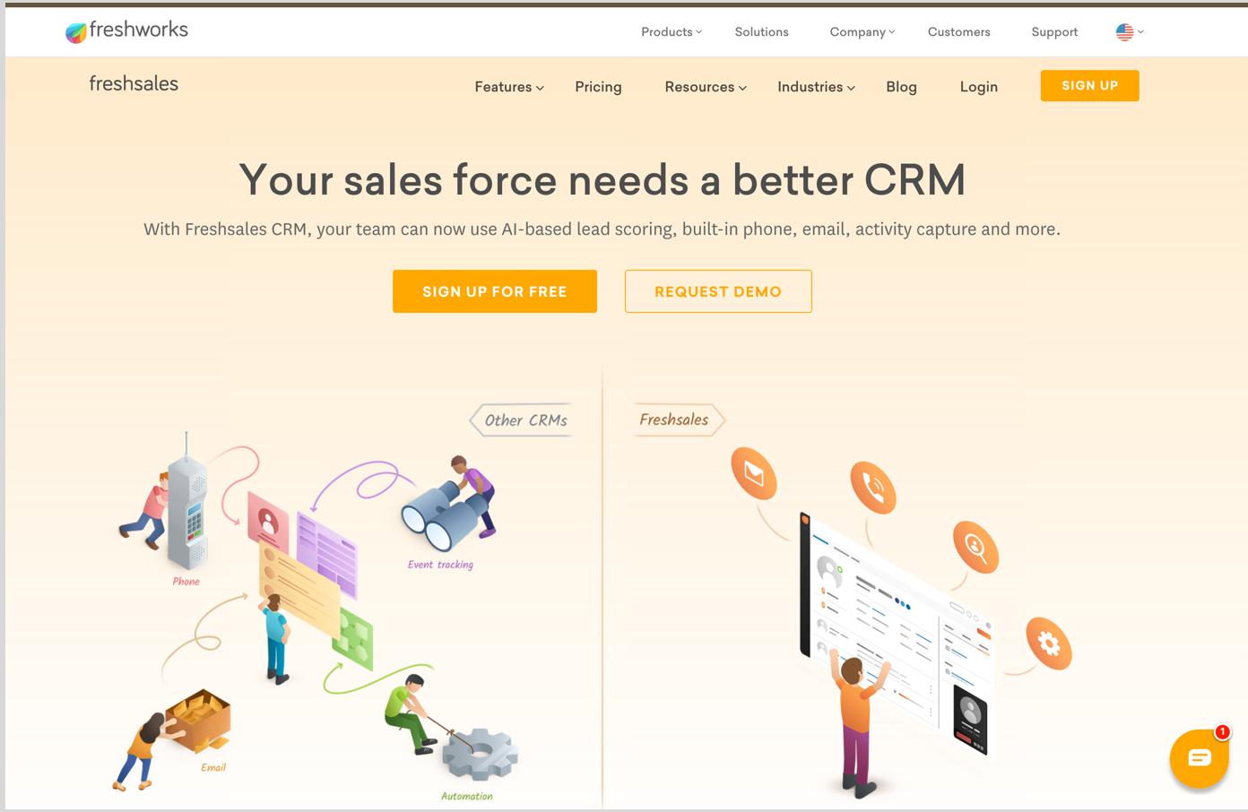 Freshsales CRM Homepage