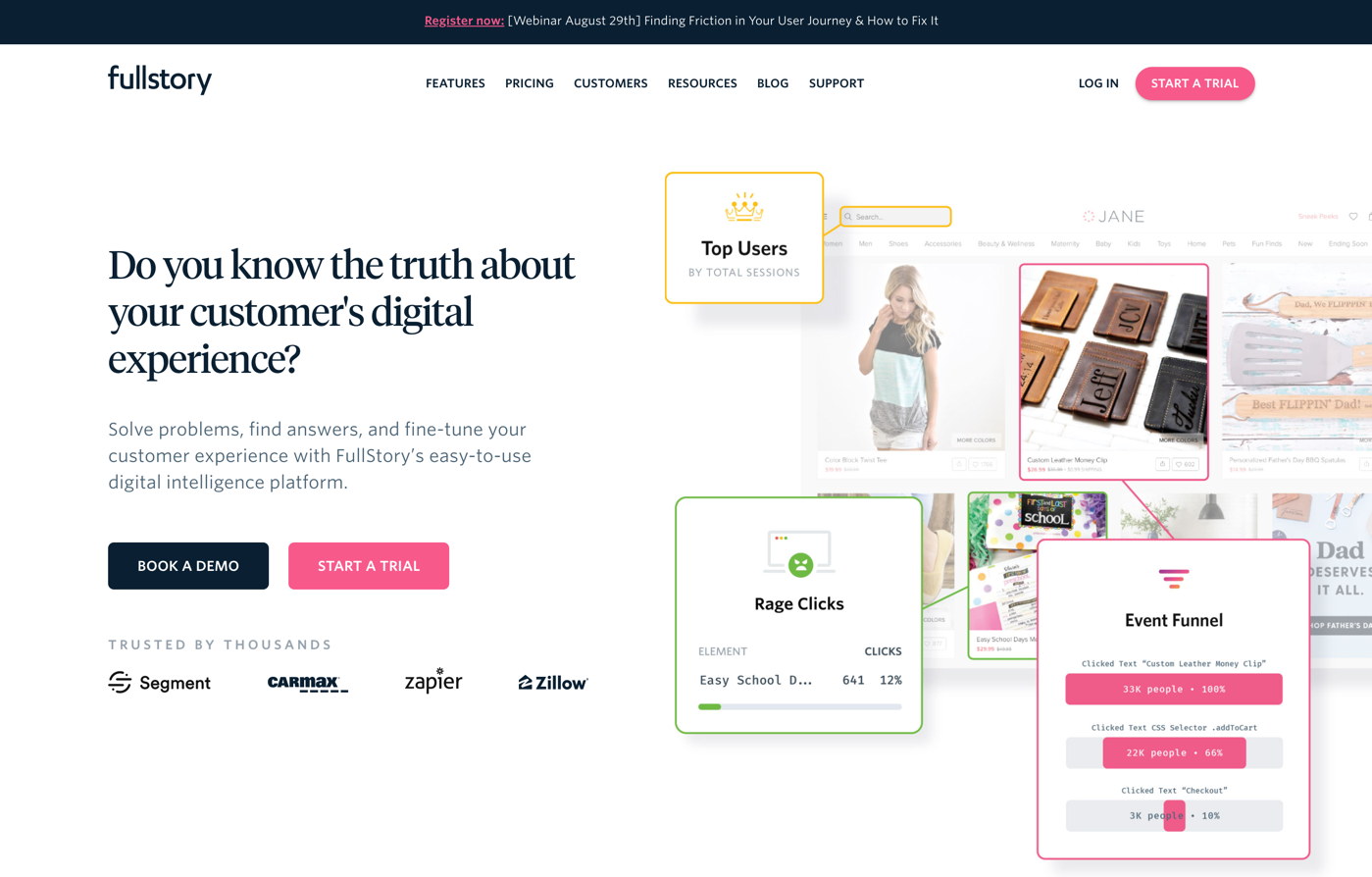 fullstory homepage