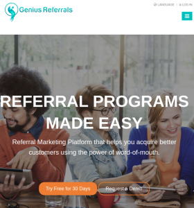 genius referrals homepage