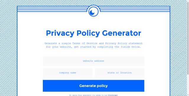 Get Terms Privacy Policy Generator