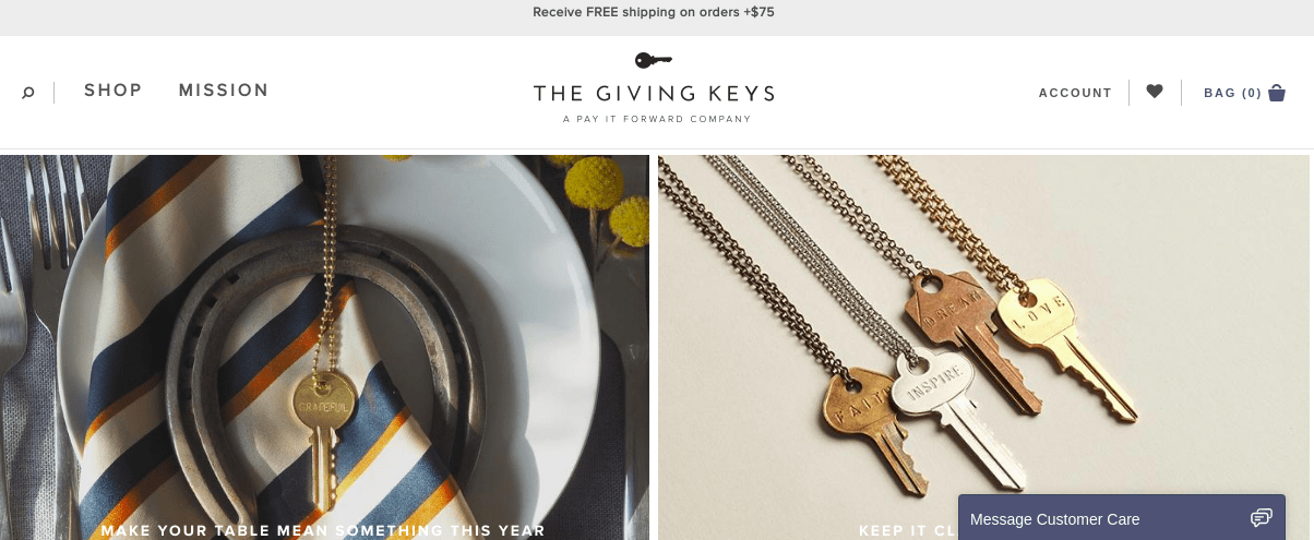 Giving Keys homepage via Digital.com
