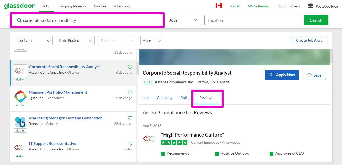 Capture d'écran des avis de Glassdoor CSR