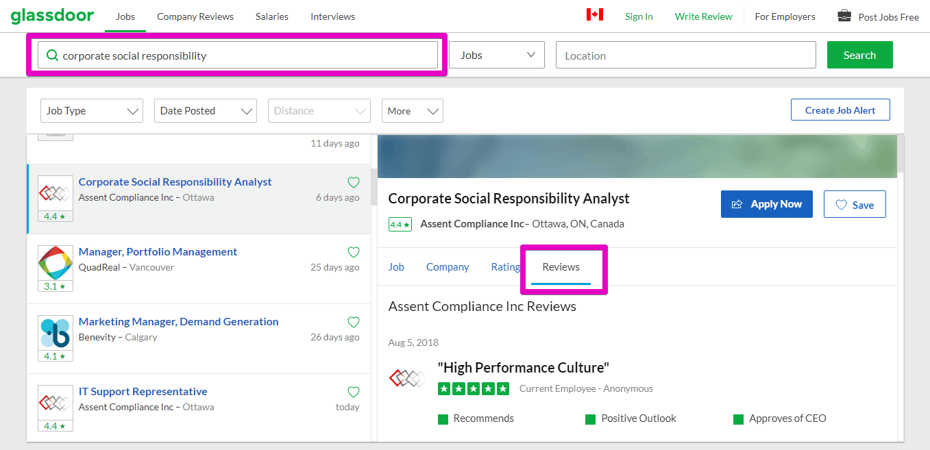 Glassdoor CSR reviews screenshot
