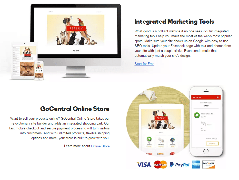 godaddy gocentral integrations
